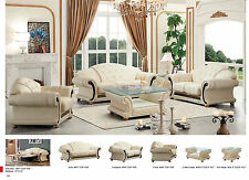 Versace Cleopatra Living Room Sofa and Loveseat Set in Ivory Italian Leather