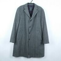 BUGATTI Mens Grey Herringbone Wool Cashmere Overcoat Coat Jacket SIZE XL, 54