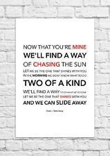 Oasis - Slide Away - Song Lyric Art Poster - A4 Size