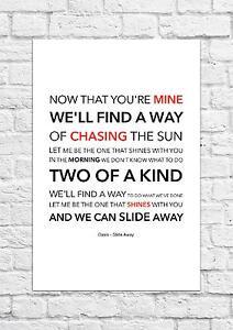Oasis - Slide Away - Song Lyric Art Poster - A4 Size