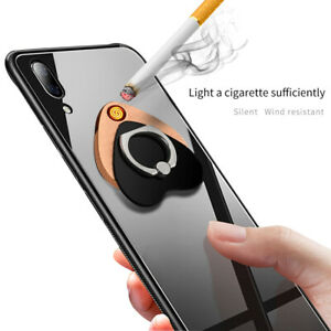 Phone Finger Ring Holder Electric USB Rechargeable Cigarette Lighter Windproof