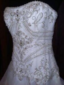 SIZE 6/8/10 SUPER SPARKLY BEADED BODICE CORSET BACK PRINCESS WEDDING DRESS