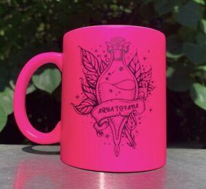 Aqua Tofana Matte Hot Pink Coffee Mug Unique Gift Bailey Sarian Suspish Makeup