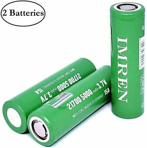 M&A BD 2 Pack of 50E-Green, 5000mAh, Rechargeable, Replacement for 21700-Battery