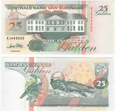 Suriname 25 Gulden 1996 P-138c NEUF UNC Uncirculated Banknote - Toucan Swimmer