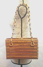 Vintage Bamboo Box Shoulder Bag Purse Mad Men Rockabilly Pocketbook Taiwan ROC