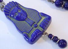 ANTIQUE ART DECO EGYPTIAN REVIVAL BLUE GREEN CZECH GLASS PHARAOH HEAD NECKLACE