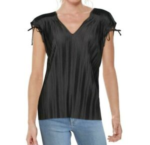 Alfani Women's Knit Top Black Size Small S V-Neck Pleated Ruched Tie $59 #045