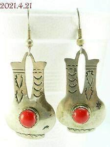 Kevin Yazzie Navajo Coral Vase Pot Sterling Silver 925 Dangle Pierced Earrings