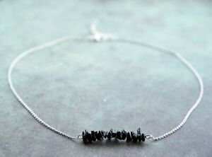 Black Tourmaline Schorl Bar Silver Necklace   Boundaries / Spiritual Protection