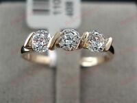 18K Rose gold 0.75 ct Round cut Diamond Three stone Ring FREE PP