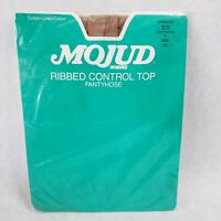 Vintage Mojud Ribbed Control Top Pantyhose Sandalfoot Size C Nude 872