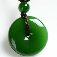 Chinese green jade hand carved round Safety buckle pendant & Brown rope necklace