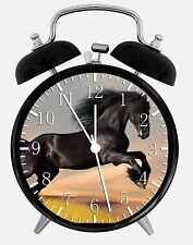 "Black Horse Alarm Desk Clock 3.75"" Home or Office Decor W57 Nice For Gift"