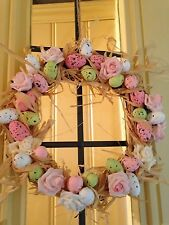 Easter Door Wreath Hanging Decoration Wicker With Speckled Eggs Flowers