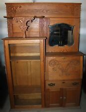 Antique American Eastlake Oak Side by Side Secretary Desk & Bookcase
