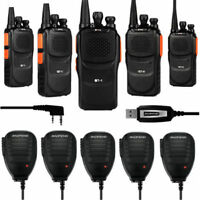 5Pcs Baofeng GT-1UHF 400-470MHz Ham Two-way Radio Transceiver + 5x Speaker Cable