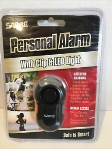 SABRE Personal Alarm with Clip & LED Light –LOUD 120dB Alarm Run Hike Bike Black