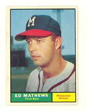1961 TOPPS BASEBALL EDDIE MATHEWS CARD #120 EXMT-NM NO CREASES SHARP! (498B)