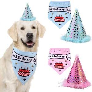 Dog Birthday Bandana Hat Banner Set Dog Pet Boy Girl Cute Bow Tie Scarf