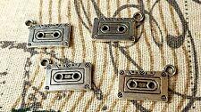Cinta de casete 5 Plata Encantos Estilo Retro Jewellery Supplies C117