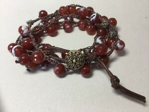 Handmade crocheted Agate Necklace Wrap Bracelet Vintage Button Leather Clasp