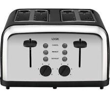 LOGIK L04TBK14 4-slice Toaster - Black & Silver - Currys