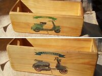 Quirky vintage style Vespa and Lambretta wooden scooter storage box in med oak.