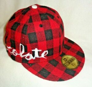 New Era  59FIFTY  fitted size  7 1/2  Chocolate  Red/Black Plaid Hat -Cap ~ NEW