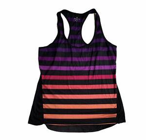 Athleta Tank Top Size Large Black Striped Rainbow Colors Women