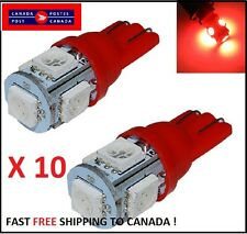 10x Red LED T10 5SMD 5050 SMD Bulbs Side Light 194 168 W5W Wedge Cluster