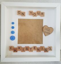 Personalised Photo Box Frame scrabble letters baby christening baptism gift
