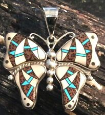 NATIVE AMERICAN Butterfly Pendant White Turquoise Inlay in Sterling Silver