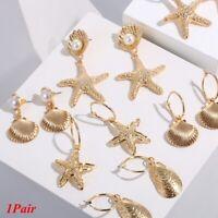 Fashion Women Bohemian Starfish Conch Shell Big Circle Dangle Earrings Beach