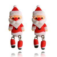 Dangle Animal 3D Women Jewelry Cute Polymer Clay Earrings Santa Claus Ear Stud