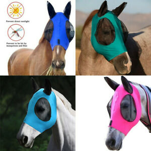 Horse Mesh Fly Mask with Ears Breathable Soft Lycra Mesh Mask hood Anti-UV NEW