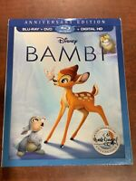 Bambi (Blu-ray/DVD, 2017, 2-Disc Set, With Digital HD, Anniversary Edition) NEW