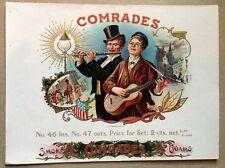 COMRADES Original Antique Cigar Box Label Art OL Schwencke Stone Lithograph NY