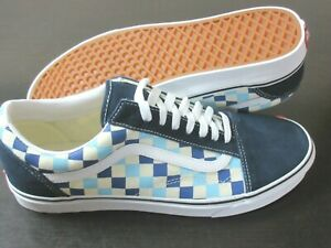 Vans Men's Old Skool Checkerboard Blue Topaz Canvas Suede shoes Size 12 NWT