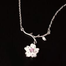 Halskette Kirschblüte echt Sterling Silber 925 Zirkonia 38-40,5 cm Damen Collier