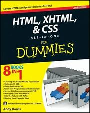 HTML, XHTML and CSS All-In-One For Dummies Harris, Andy Paperback Used - Good