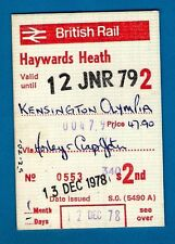 Ticket ~ British Rail (S) 2nd Season - Haywards Heath to Kensington Olympia 1978