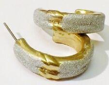 Bijou Vintage boucles d'oreille percée anneau couleur or et gris pailleté *4992