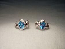 Beautiful Estate 14K White Gold Blue Topaz Garnet Diamond Heart Earrings