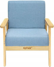 Wooden Accent Sofa Chair Upholstered Lounge Chair Comfortable Seat Light Blue US