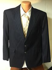 RICHARD JAMES Navy Blue Pinstripe 2 Button Flat Front Suit 44 L 38 x 31