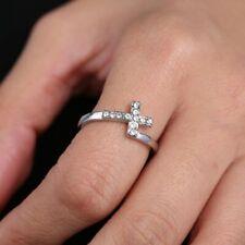 Fashion Women Crystal Zircon Cross Adjustable Ring Wedding Party Jewelry Size 7