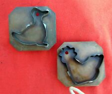 "2 Solid Copper Pfaltzgraff Cookie Cutters    Misses Duck  & Chick 3 3/4"" Sq."