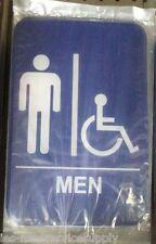 Men Men's Restroom Handicap Sign Blue 6 X 9 Information Wall Label Adhesive