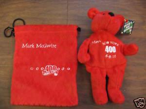 Mark McGwire plush bean bag bear 400 Home Runs with Pouch
